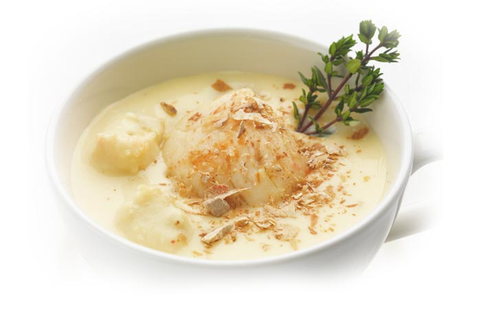 Cappuccino di Patate di Bologna D.O.P., scalogno, tartufo dell'Appennino e capesante.