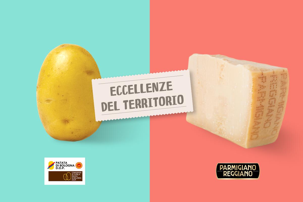 Patate di Bologna D.O.P. croccanti al Parmigiano Reggiano D.O.P.