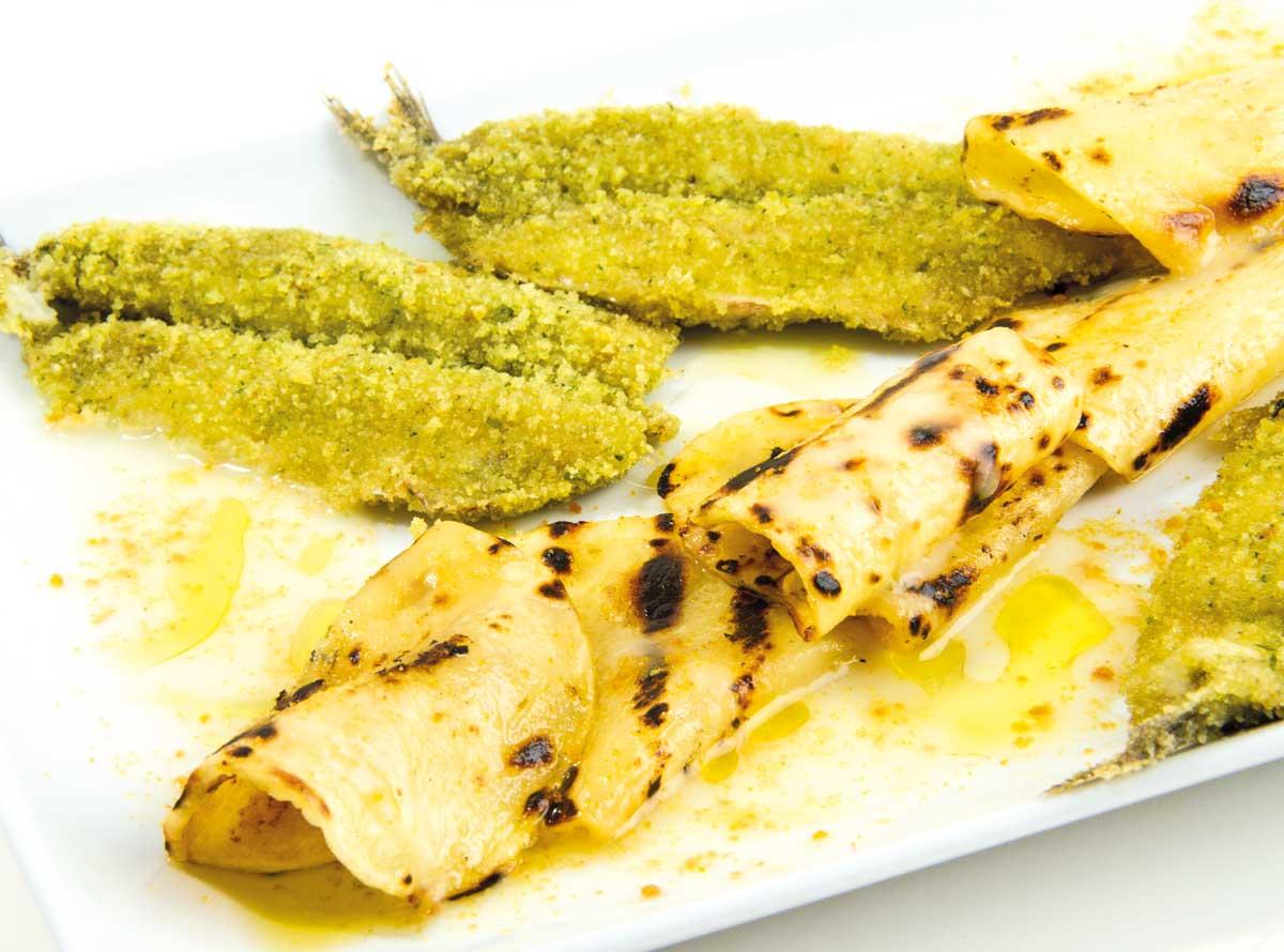 Patata di Bologna - Ricette - Patata di Bologna D.O.P. alla griglia con alici gratinate, condite con patata e bottarga di muggine.