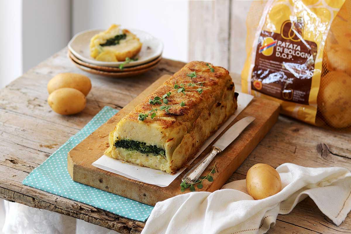 Sformato di Patate di Bologna D.O.P. con cime di rapa e baccalà