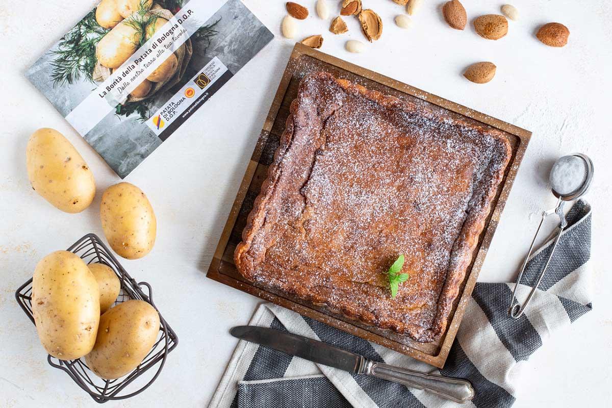 Torta dolce di Patata di Bologna D.O.P. con ricotta, mandorle e senza glutine.